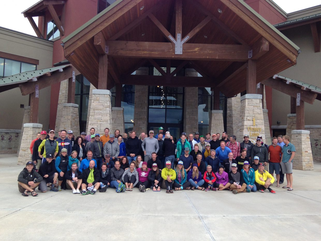 """The group of 80-plus riders who participated in the 2015 """"The Ride"""" from Steamboat Springs to Salt Lake City, Utah, which is hosted annually by Smartwool and Iconic Adventures."""