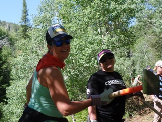 Photos of work day with SmartWool on Hot Springs Trail. Submitted by Gretchen Sehler.