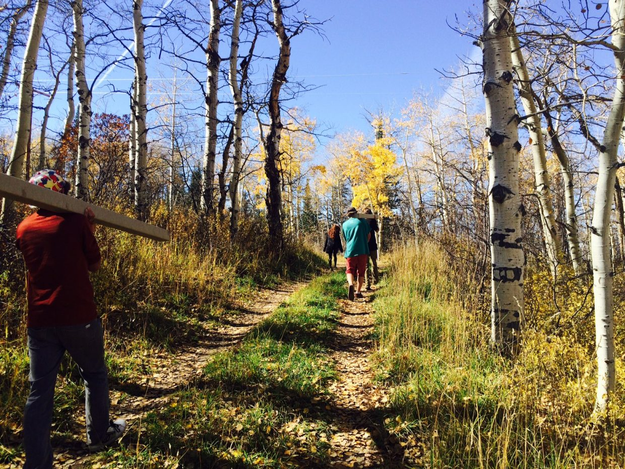 The Yampa Valley High School helped the city of Steamboat Springs Parks, Open Space and Recreational Services Department place posts for trail signs on Emerald Mountain as part of a Great Outdoors Colorado Grant. Submitted by: Sarah Sanders-Peed