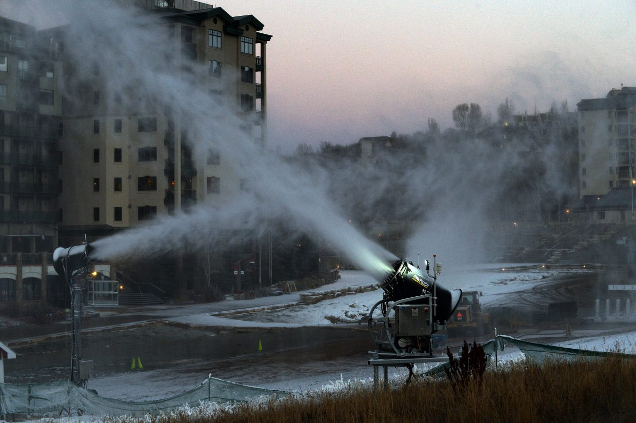 Snowmaking crews at Steamboat Ski Area cranked up the guns at midnight and shut them down around 8 a.m. Wednesday. Their targets were Stampede and Right of Way.