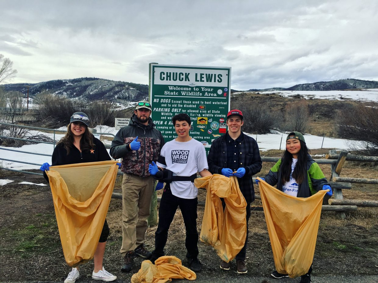 While many Steamboat Mountain School students are visiting Tanzania, Vietnam, Cambodia and northern India on Global Immersion Studies trips, competitive athlete students are working on an intense, four-week academic session. Those students took a break from their studies last week to help clean up Routt County, collecting trash along Routt County Road 36 and along the Yampa River.