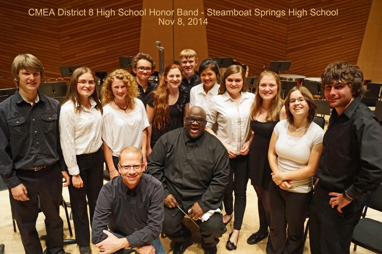 This weekend, 11 Steamboat Springs High School band members were selected to participate in the CMEA District 8 honor band with the best high school band members from northwest Colorado. The performance was Sat evening, Nov 8 at the Harris Hall in Aspen, CO. Left to right: Dylan Butler - Percussion; Olivia Requist - Clarinet; Olivia Hobson - Flute Max Gamber - Trumpet; Shannon Parks - Trumpet Nick Martin - Trumpet; Temsup Techarukpong -Lauren Requist - Oboe; Melissa Requist - Flute Emily Wertz -Clarinet; Dylan Wallace - Tuba. Front: James Knapp - SSHS Band Director; Dr. Wooten, Guest Conductor from Northern Illinois Unversity.