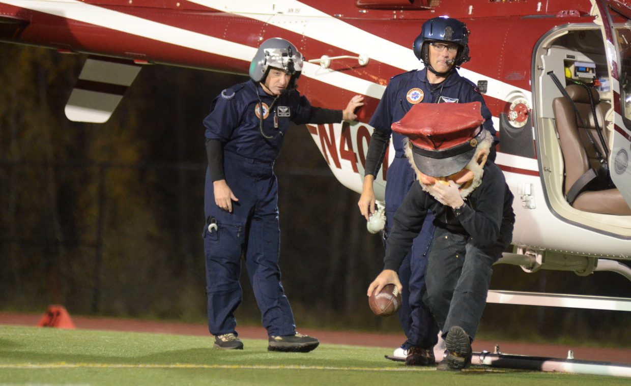 Steamboat Springs High School mascot Salty the Sailor got an aerial entrance Friday night for the school's football game against Eagle Valley.