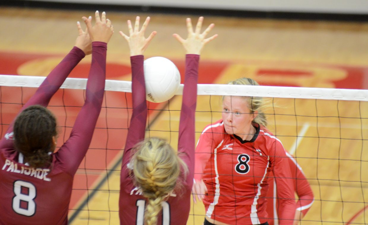 Steamboat Springs' Riley Wilkinson fires in a kill Friday in the Sailors' 3-1 win against Palisade on homecoming.