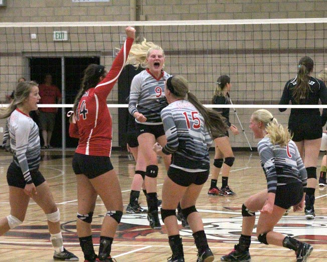 The Steamboat Springs High School volleyball team celebrates a huge fifth-set win against Eagle Valley on Thursday night, improving to 9-0 on the season.