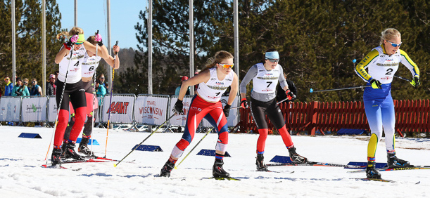 Steamboat Springs Winter Sports Club Nordic skier Jordi Floyd (bib 7) races to fourth place in the A-Finals of the U18 girls freestyle sprint at Junior Nationals in Cable, Wisconsin, last week.