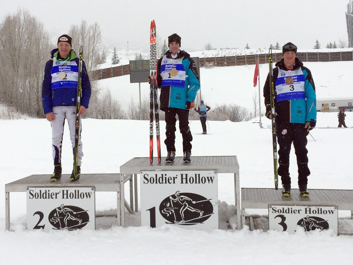 Steamboat Springs Winter Sports Club cross country skiers Wyatt Gebhardt (middle) and Noel Keeffe (right) took first and third, respectively, in last weekend's Super Junior National Qualifier U18 boys 15-kilometer mass start freestyle race at Soldier Hollow.