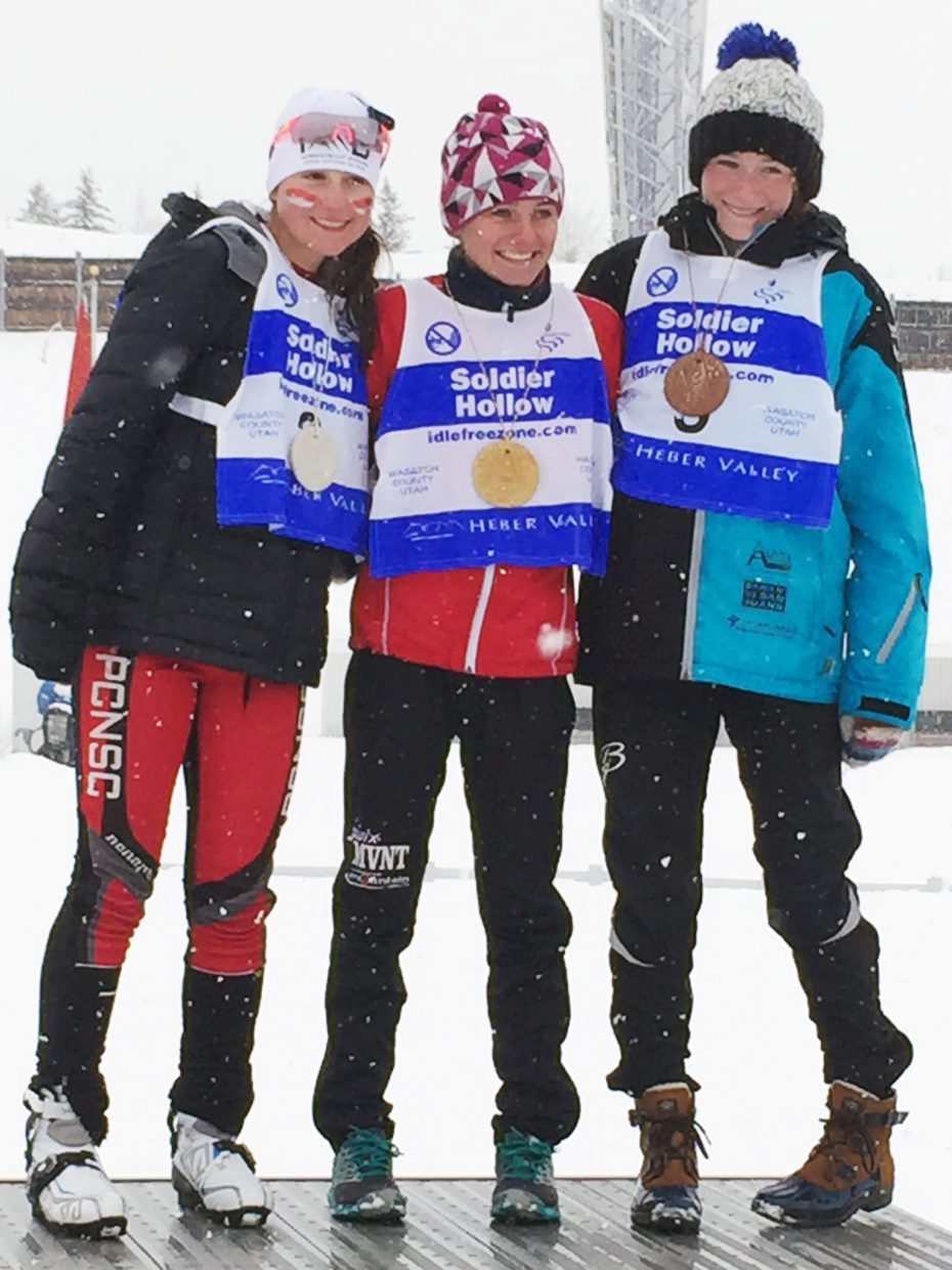 SSWSC cross country skier Waverly Gebhardt, right, took third in last weekend's Super Junior National Qualifier U16 girls five-kilometer mass start freestyle race in Soldier Hollow, Utah.