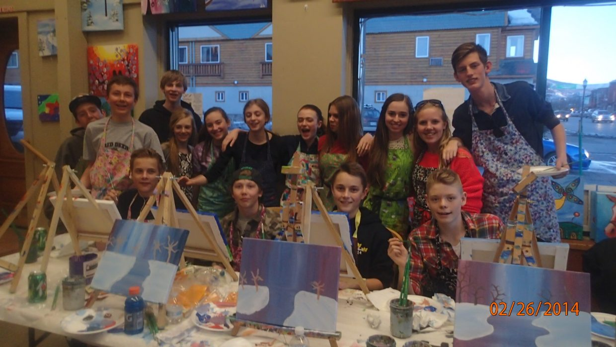 Students from Steamboat Springs Middle School and Helenelundsskolan, a kindergarten through ninth grade school in Sollentuna, Sweden, enjoy art class together as part of a 20-year Swedish exchange program between the two schools, which is slated to end this year. In the front row, from left, are Oscar Lundmyr, Bridger Boyd, Erik Dalhstrom and Eric Larsson. Back row, from left, Cruz Erickson, Luke Borgerding, Zach Cooke, Amy Speer, Keelan Vargas, Lovisa Palm, Sarah Meyer, Hanna Fritzson, Sarah Mosebach, Emelie Forsen and Ludvig Dillen.