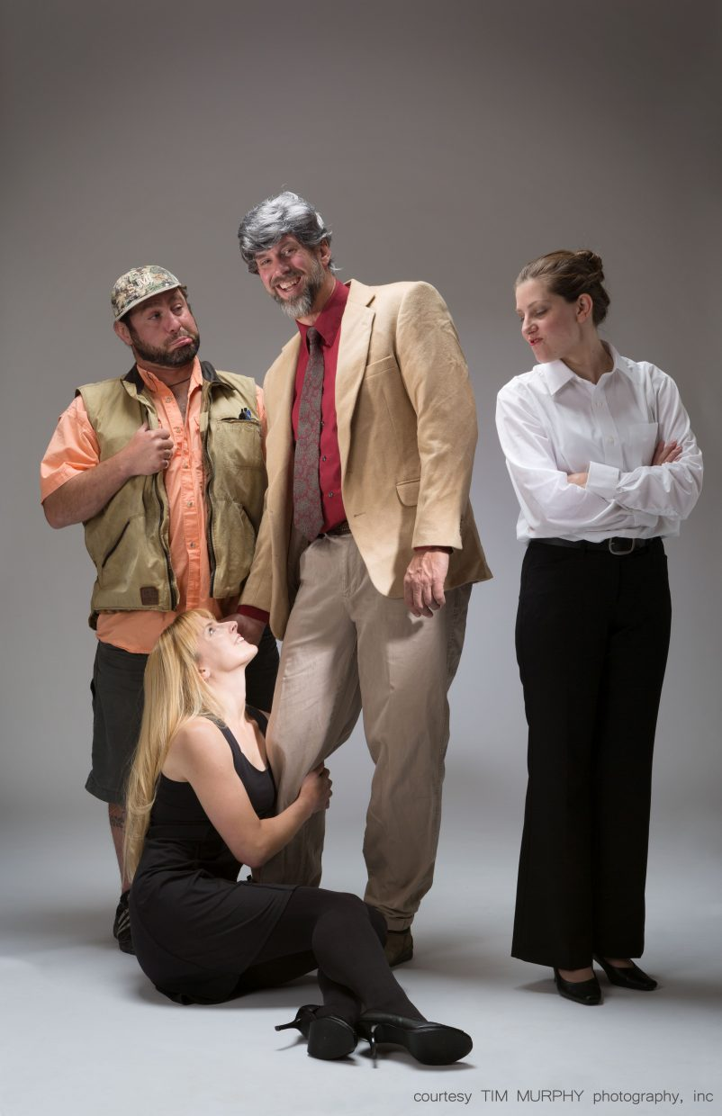 """The cast of """"Sylvia,"""" directed by Howard Bashinski, includes Calder Young, clockwise from left, Chad McGown, Robin David and Holly MacKinnon."""