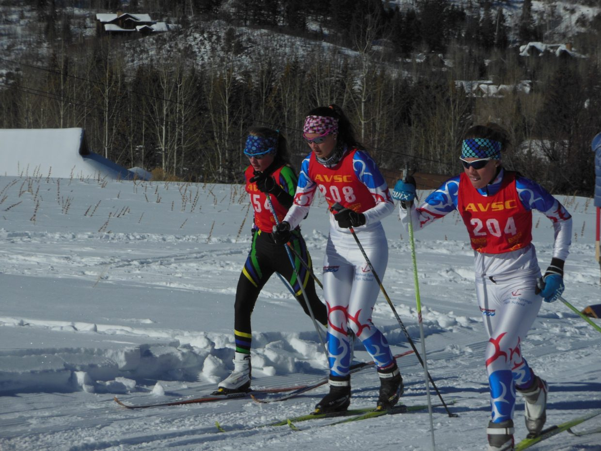 "Natalie Bohlmann (204) and Lark Skov (208) race in the classic portion of the Sailors' ""continuous pursuit"" race Saturday in Aspen. Bohlmann finished seventh, and Skov took 17th."