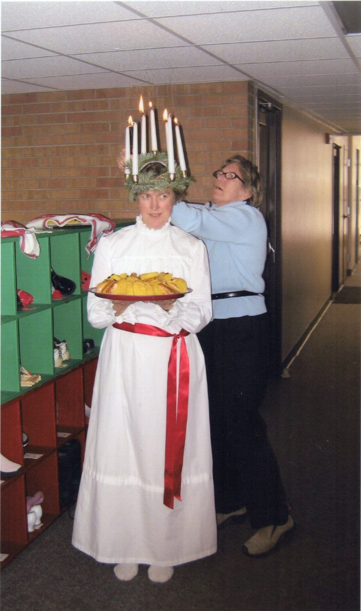 Birgitta Lindgren, owner of the Steamboat Ski Touring Center getting ready for Sweden's tradition of St.Lucia at Soda Creek Elementary. Girls will be dressed as Lucia and carry saffron rolls and 'Pepparkakor,' ginger snap cookies, in procession as songs are sung.