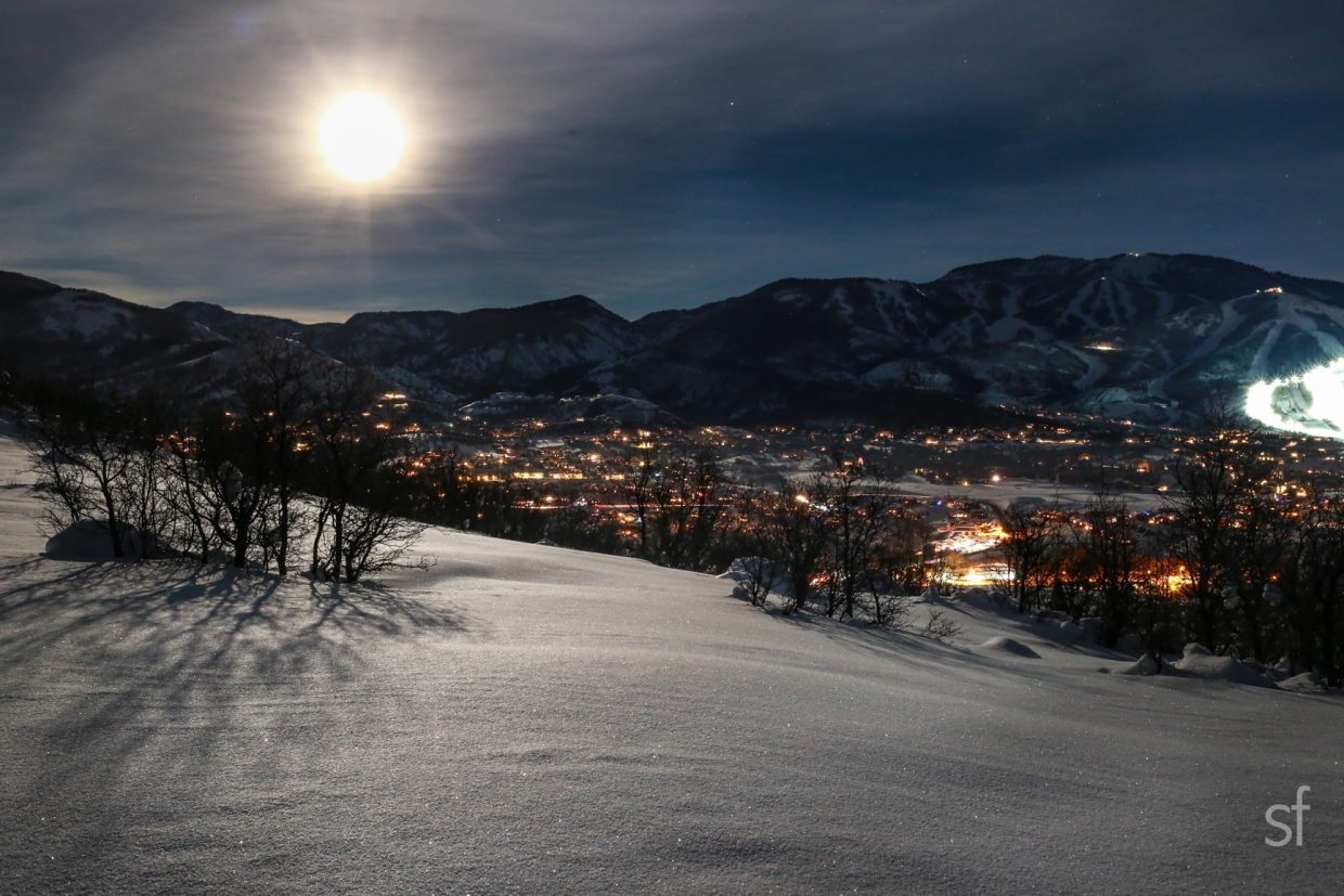 A bright full moon over the mountain. Submitted by Sara Furey.