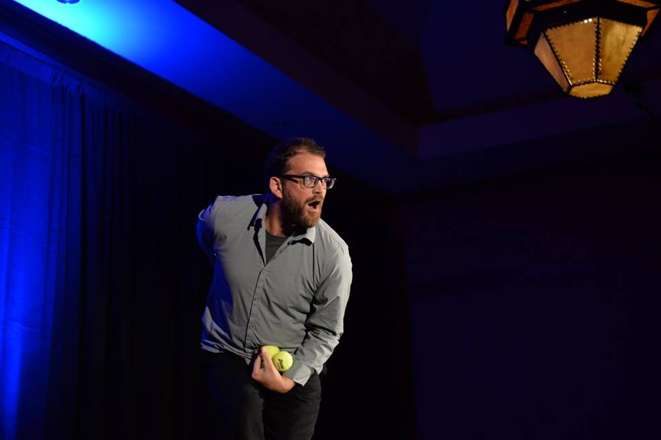 Scott Parker juggles as part of the 2016 Best of the Boat awards show.