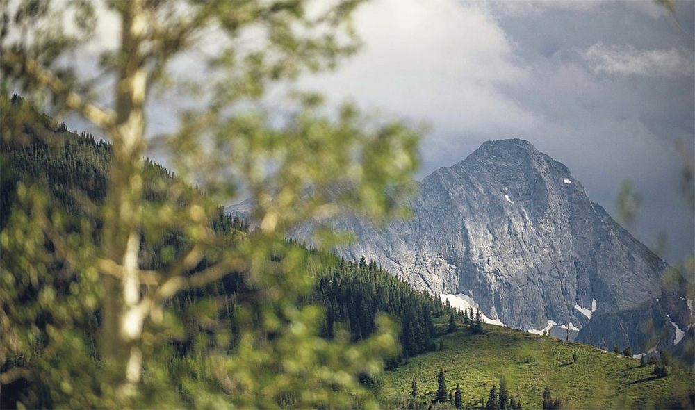 The 14,130-foot Capitol Peak is located about 14 miles west of Aspen in the Elk Mountains.