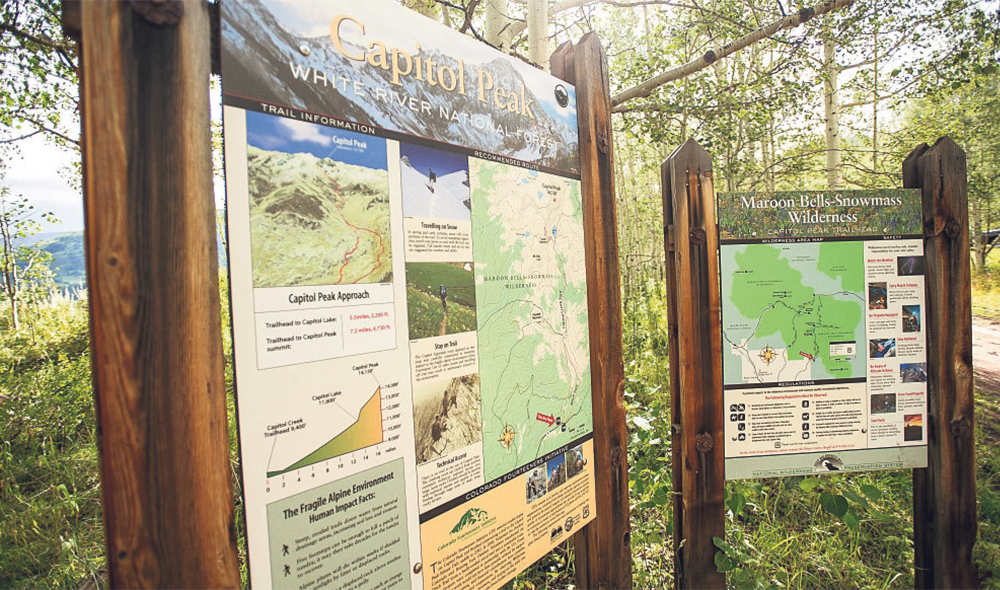 The Capitol Peak trailhead gives hikers and climbers information about the mountain, which is 14 miles west of Aspen in the Elk Mountains.