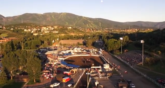 A screen grab from the latest ads from the city of Steamboat Springs shows how Cedar Beauregard used a remote-controlled aircraft to capture video of the city's rodeo grounds.