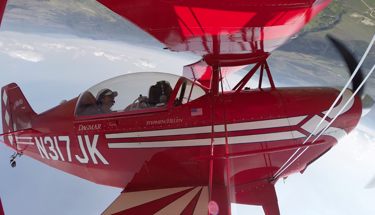 Audrey Dwyer and Dagmar Kress performing rolls and loop-de-loops in Kress's Pitts S2C biplane Friday afternoon before the Wild West Air Fest. It was one of Dwyer's most memorable experiences of 2014.