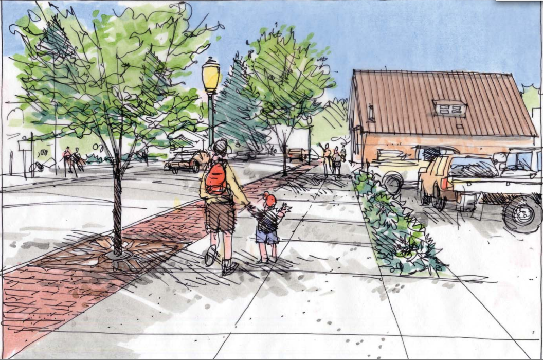 A sketch shows how the addition of sidewalks and a streetscape could improve the intersection of 10th Street and Lincoln Avenue.