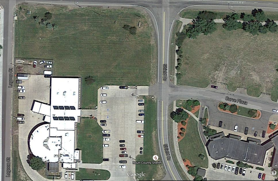 This satellite image from Google Maps shows the potential building location of a combined public safety facility just north of the Routt County Jail and adjacent to U.S. Highway 40 in west Steamboat Springs. According to county officials, the space could support a 15,200-square-foot building footprint and expanded parking.