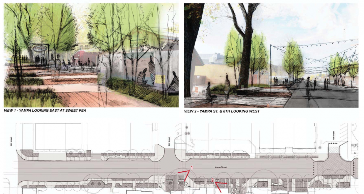 Drawings from Landmark Consultants show what Yampa Street could look like with the addition of the promenade.