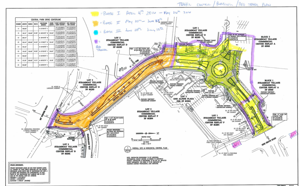 A handout provided by Connell Resources shows the initial phases of the Central Park Drive construction project. The area colored in yellow that is closer to Pine Grove Road is the first phase of the project, while the area colored in orange near Mount Werner Road is the second phase.