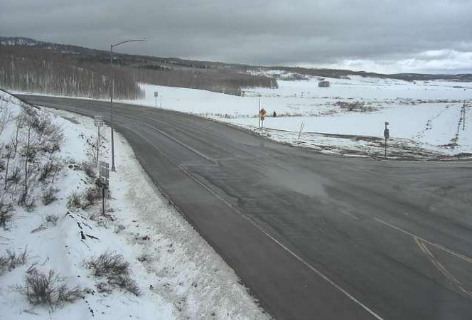A webcam positioned at the intersection of U.S. Highway 40 and Colorado State Highway 14 Sunday showed gloomy weather but clear roads. Unsettled weather, including the chance of rain, thunder and snow is expected to continue throughout the week.