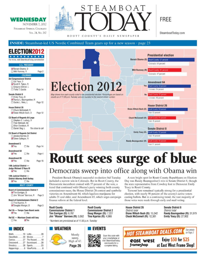 Front page of 2012 Steamboat Today