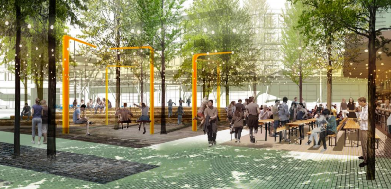 A rendering from a presentation about RiverView shows a potential concept for a public plaza at Fifth and Yampa streets.