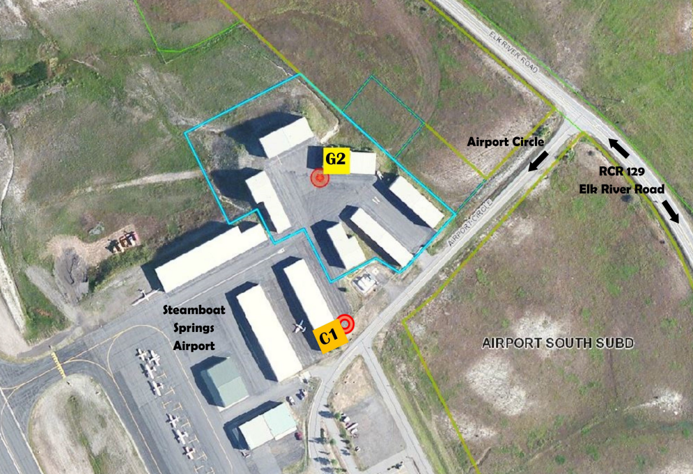 An advertisement from Colorado Group Realty shows the location of the G-2 hangar the city of Steamboat Springs wants to purchase for transient aircraft rentals.