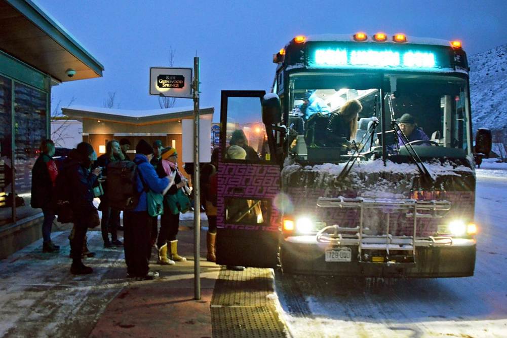 A crowded Bustang prepares to depart Glenwood Springs' 27th Street station on the morning after the 2016 X Games.