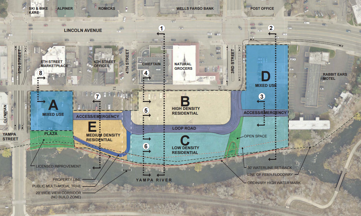 A map shows the proposed zoning for the 4.5-acre RiverView parcel in downtown Steamboat Springs.