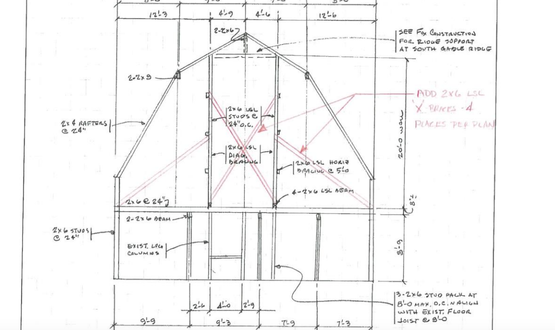 A drawing shows the proposed stabilization plan for the Arnold Barn. The stabilization would involve constructing a new internal frame for the barn.