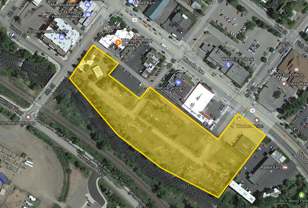 A map shows the RiverView development site in downtown Steamboat Springs.