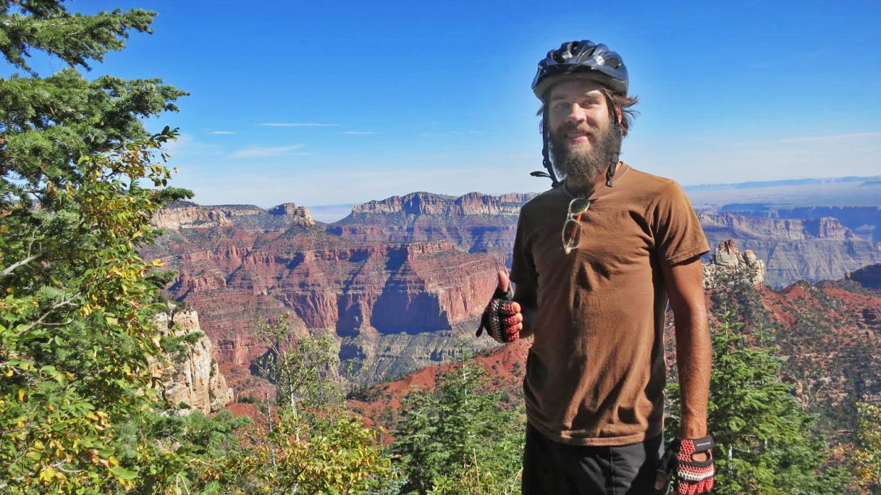 Steamboat Springs resident Sergio Ryan stops for a picture at the Grand Canyon in Arizona as part of a 2,200-mile solo bike ride this fall.
