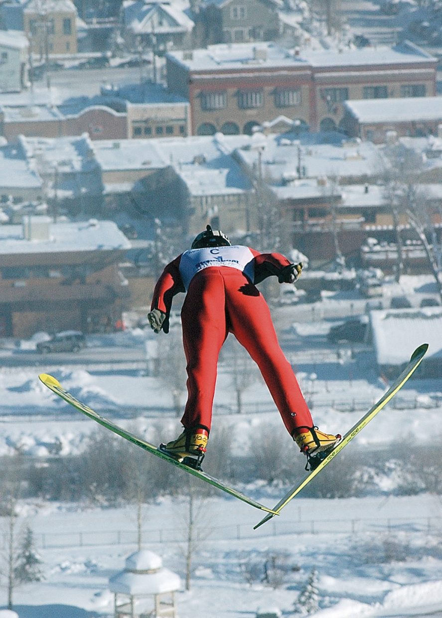 U.S. Nordic Combined Ski Team member Johnny Spillane takes flight during a training session for a World Cup B event in Steamboat Springs. This photograph was taken by John F. Russell and appeared in the Dec. 10, 2005, Steamboat Today.