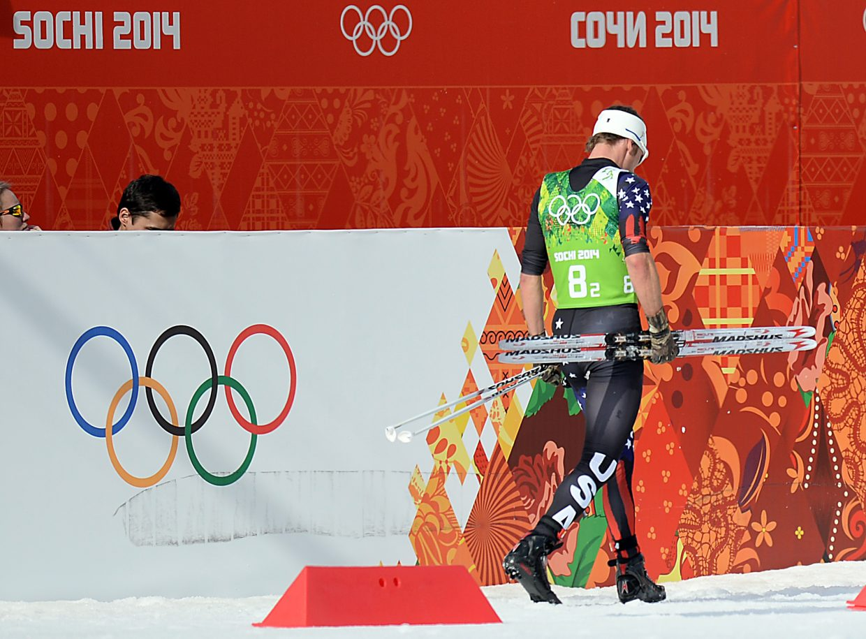 Steamboat Springs resident Todd Lodwick walks away from the competition venue after his final event of the 2014 Winter Olympics in Sochi, Russia. This photograph was taken by Joel Reichenberger and appeared in the Feb. 21, 2014, Steamboat Today.