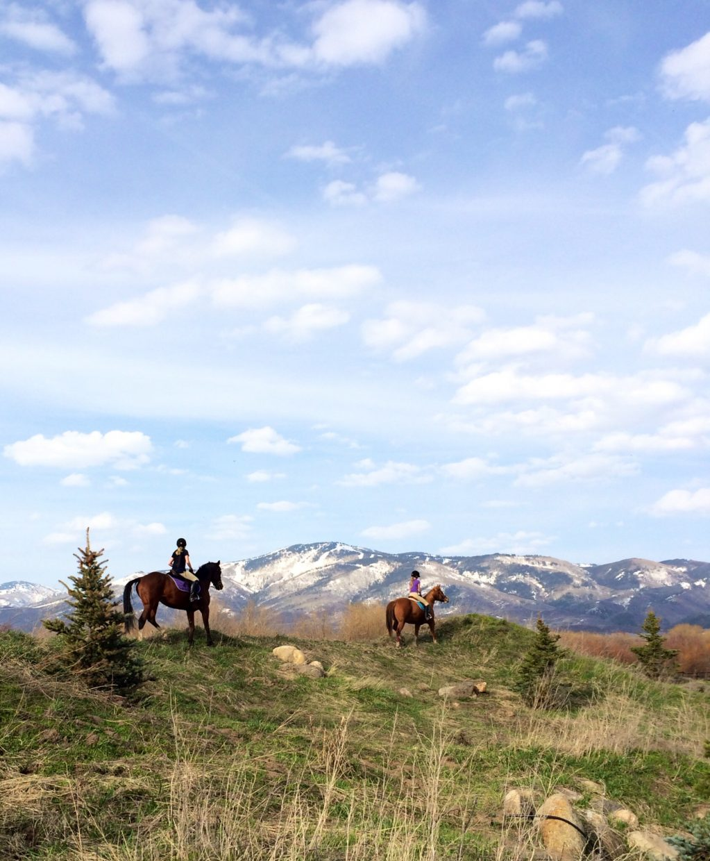 Estelle and Cosette on their first spring ride at Sidney Peak. Submitted by: Erika Janin