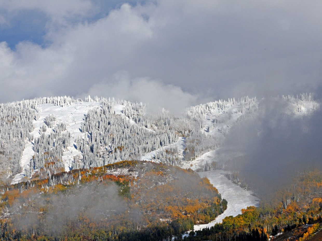 Snow and fall colors at the ski area. Submitted by: Jeff Hall