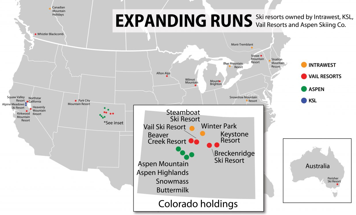 Expanding runs: Ski resorts owned by Intrawest, KSL, Vail Resorts and Aspen Skiing Co.