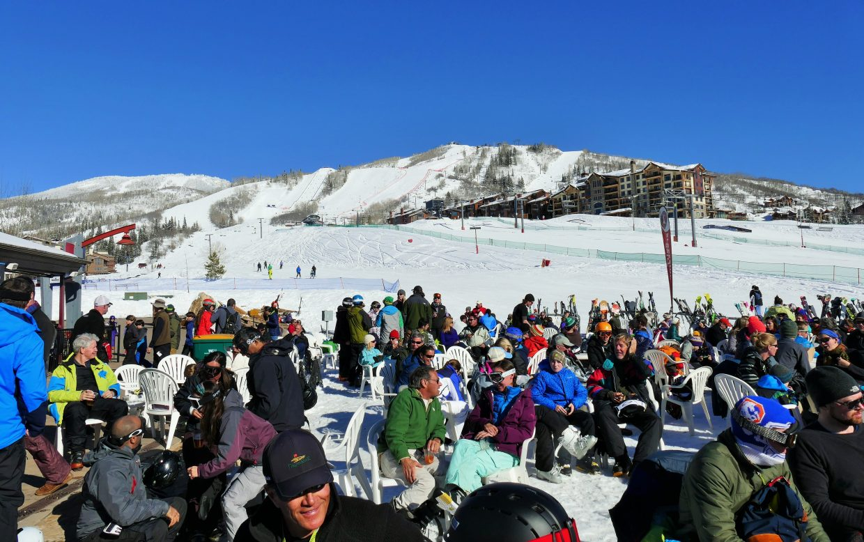 It was a busy afternoon of Steamboat sunshine on the slopes at Slopeside Saturday. Submitted by Shannon Lukens.