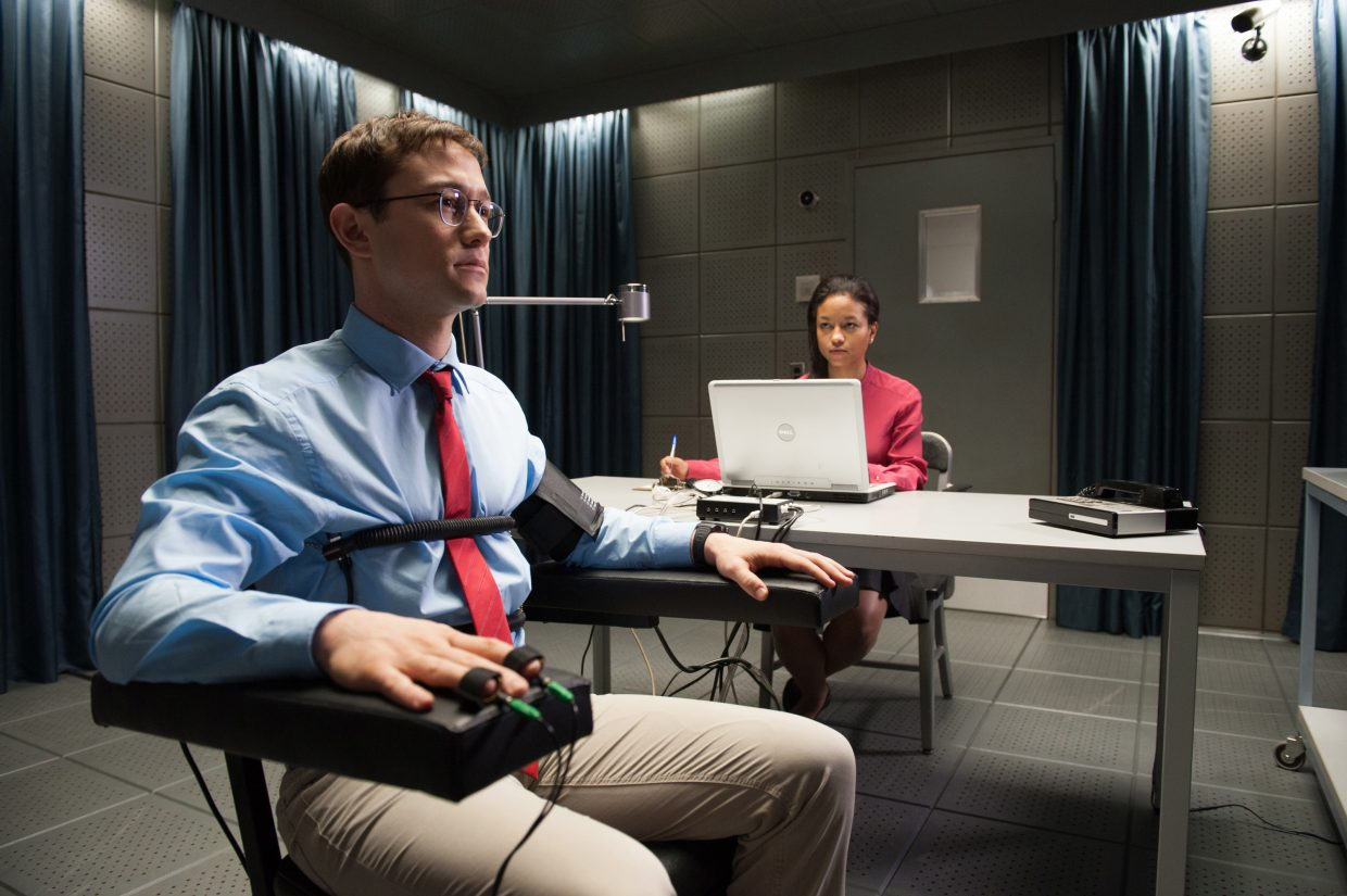 "Edward Snowden (Joseph Gordon-Levitt) receives a polygraph test in ""Snowden."" The movie is about the controversial title figure, who leaked a multitude of intelligence documents in 2013."