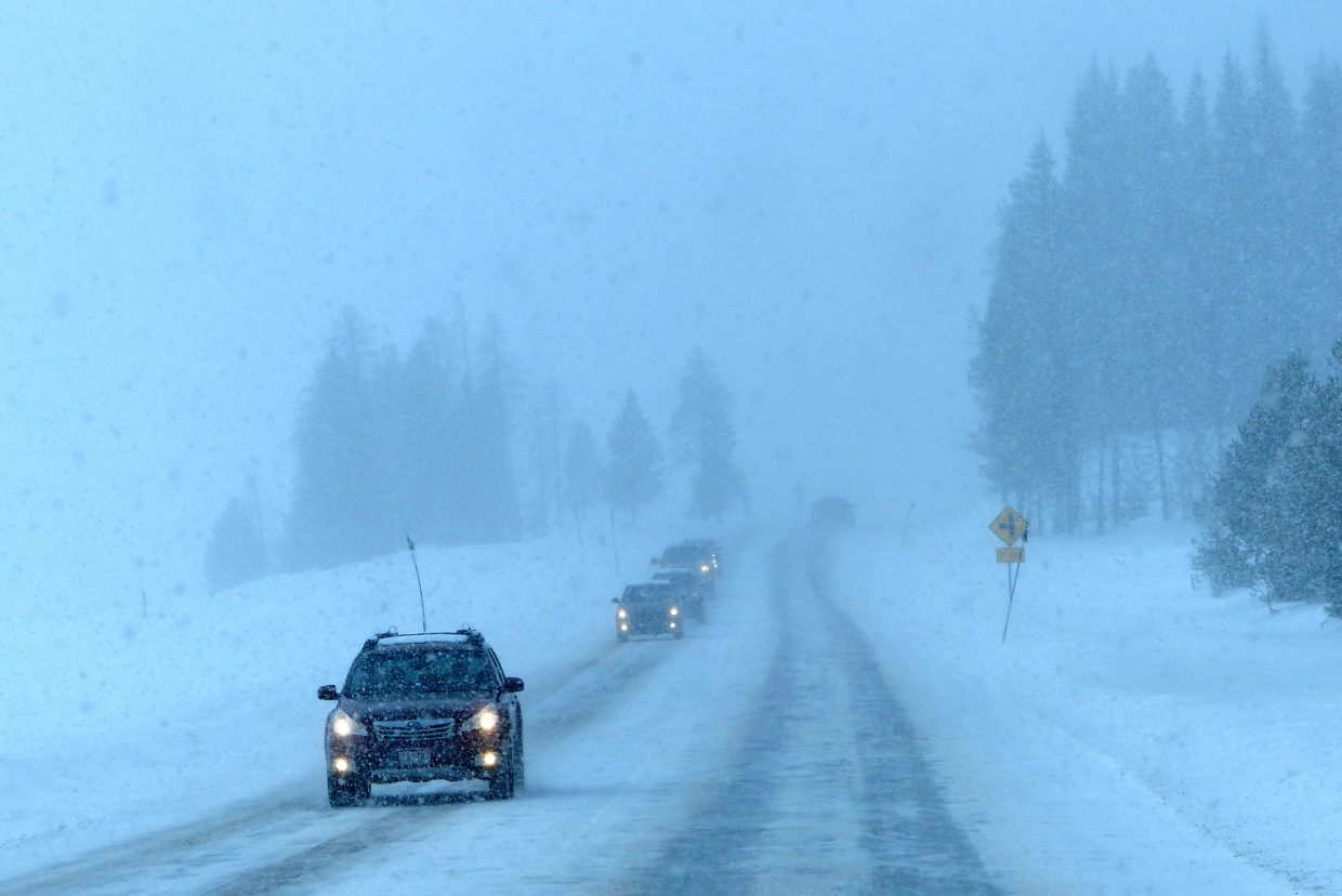 Very snowy and icy on Rabbit Ears Pass on Sunday. Submitted by: Shannon Lukens