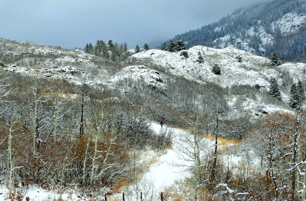 """""""It has been very snowy and cloudy in Steamboat today. I saw this hiker on a path off of Heavenly View. More snow is expected tonight."""" Submitted by Shannon Lukens."""