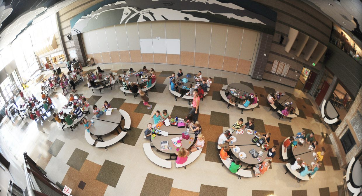 Students congregate in the cafeteria of Soda Creek Elementary on the first day of school in 2013.
