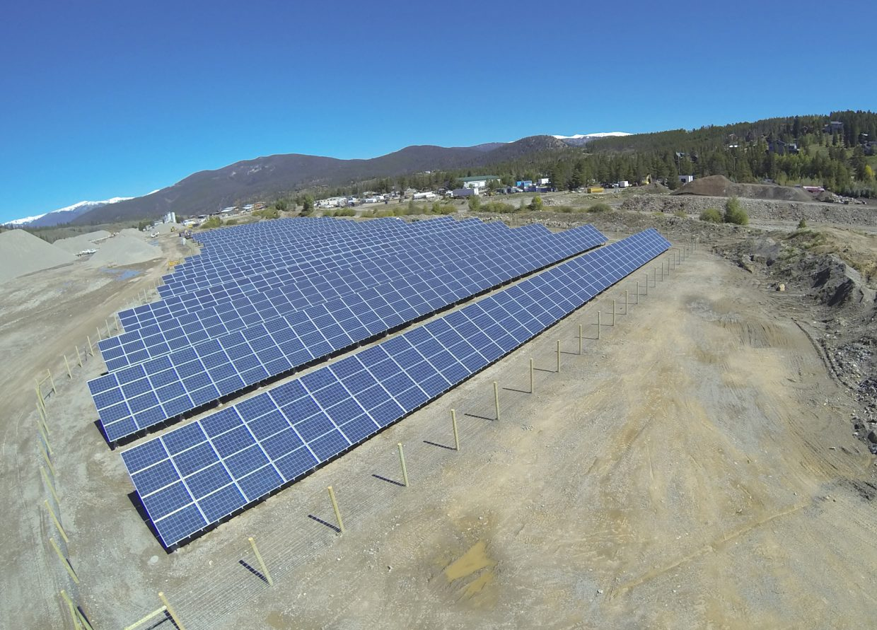 This is one of two solar gardens installed and maintained outside Breckenridge by Clean Energy Collective.