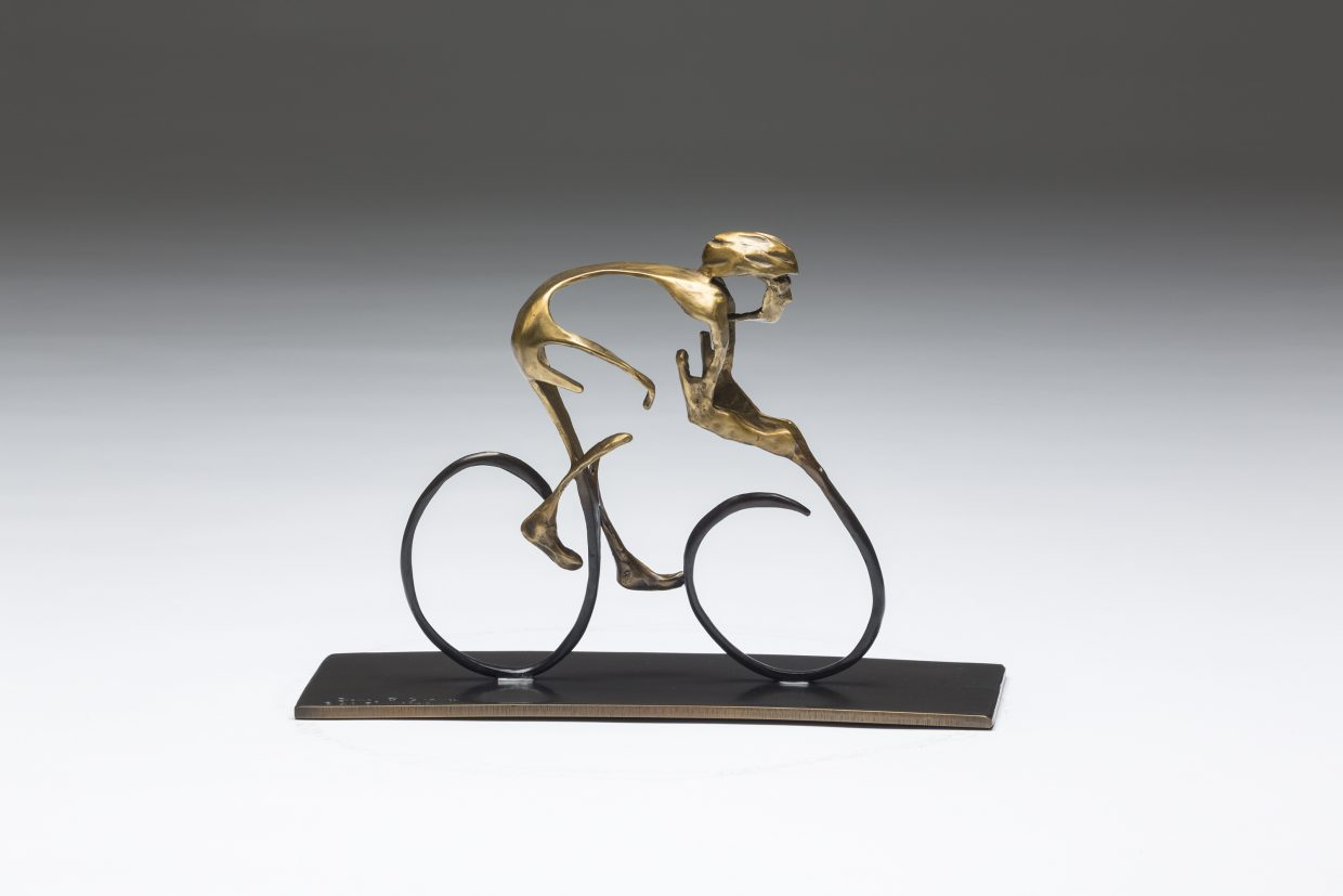 """This piece """"Solo Flyer"""" was created by local bronze sculptor Sandy Graves and will be one of the featured auction items at the inaugural Steamboat CycleArt event on Friday."""