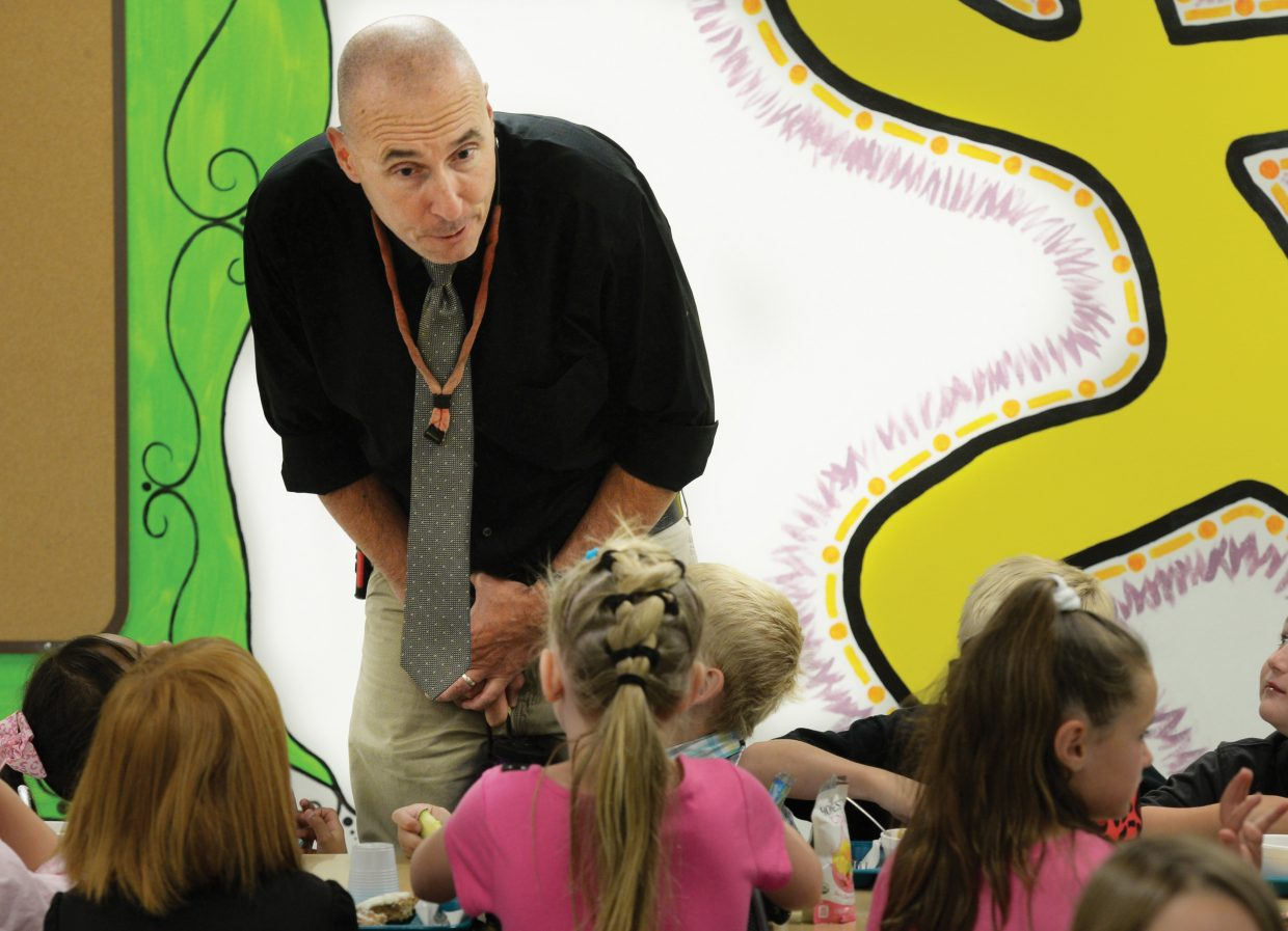 South Routt Elementary Principal Randy Foster visits with students on the first day of class in 2015.