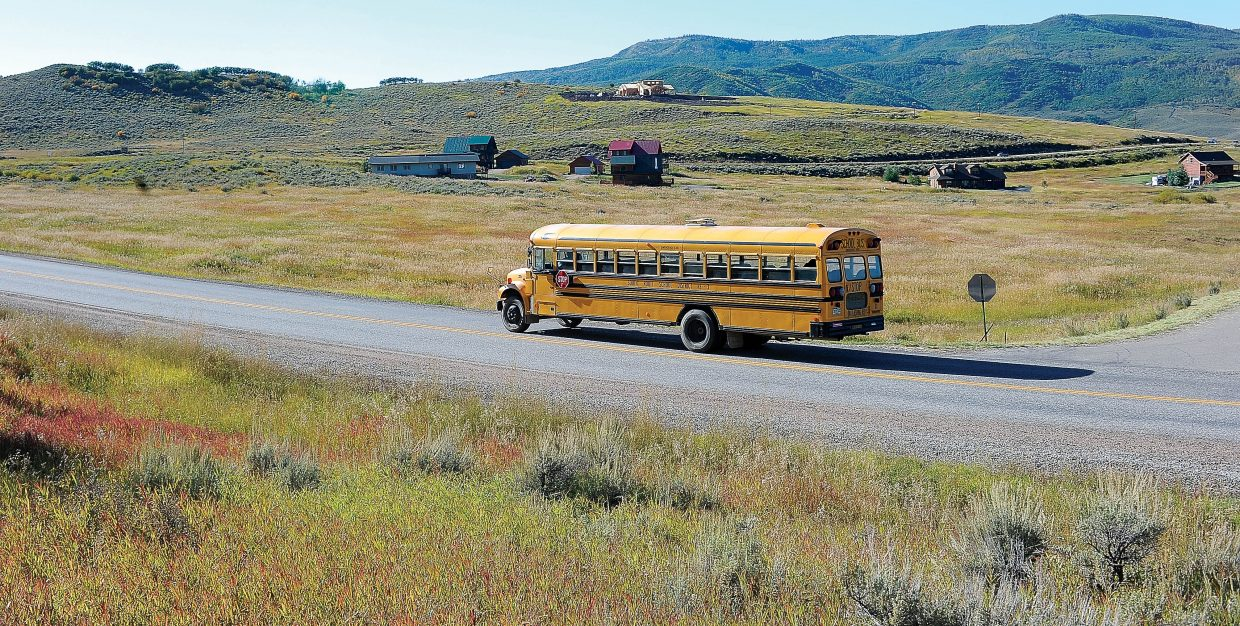 A South Routt School District bus travels through the Stagecoach community in 2011. The South Routt School District owns a parcel of land in Stagecoach they are hoping to develop into a multi-use facility to benefit the Stagecoach community and the school district.