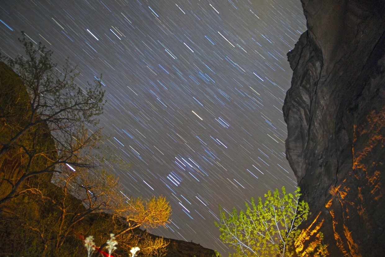 A 10-minute exposure of the stars at the Moonflower Campground, just outside of Moab, Utah.